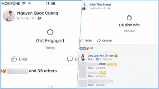 """Cả hai cùng công khai trạng thái """"Đã đính hôn"""" trên trang Facebook cá nhân."""