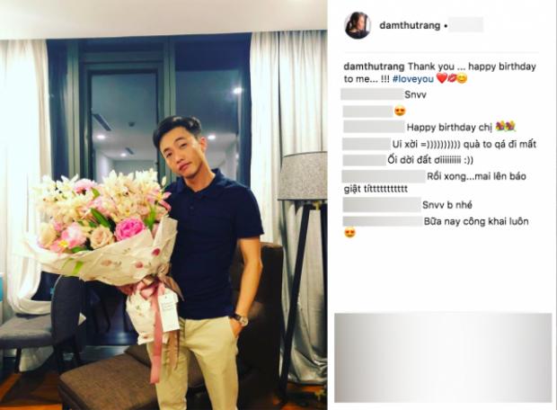 Đàm Thu Trang đăng ảnh cận mặt Cường Đô La trên trang Instagram cá nhân.