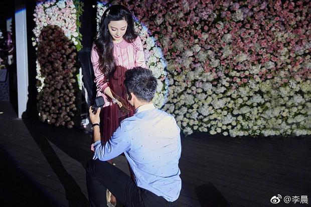 Lý Thần đã quỳ xuống trao nhẫn kim cương với lời cầu hôn ngọt ngào.