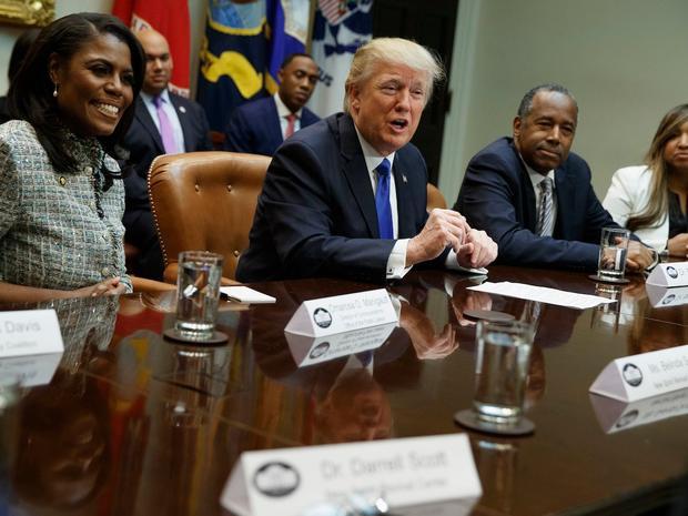 Ông Trump có phát biểu trongsự kiện Black History Month. Ảnh: AP