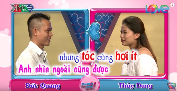 """Ấn tượng ban đầu của Thùy Dung với Đức Quang là """"tóc hơi ít'."""