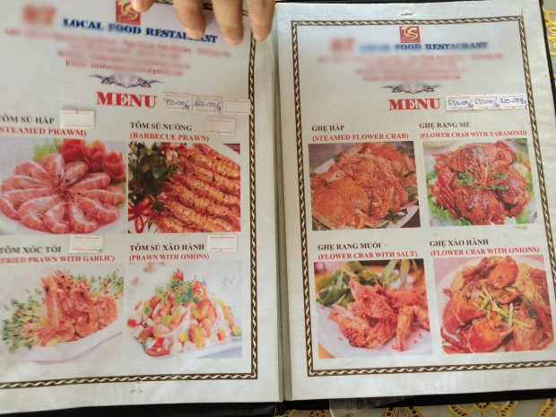 Thực đơn các món ăn tại nhà hàng.