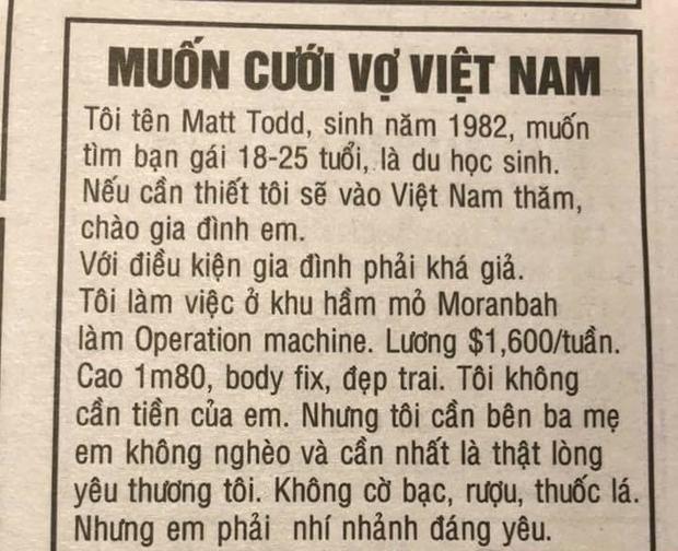 """Mẩu tin gây xôn xao """"muốn cưới vợ Việt Nam""""."""
