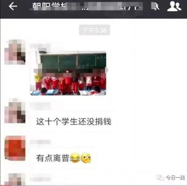 Hình ảnh các em đứng trước lớp được cô giáo đăng tải trên nhóm Wechat của lớp.