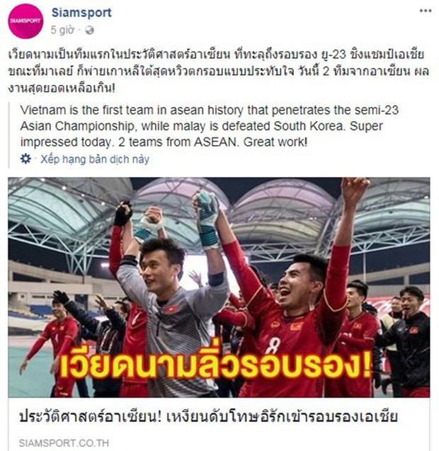 Trang mạng xã hội Siamsport của Thái Lan.