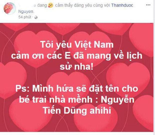 Bày tỏ sự vui mừng trước chiến thắng của U23 Việt Nam và không quên lời hứa đặt tên con trai giống tên thủ môn Tiến Dũng.