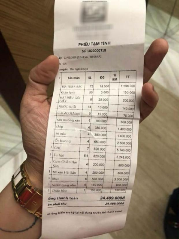 Hóa đơn tính tiền bữa ăn của đoàn nghệ sỹ tại nhà hàng ở Đà Nẵng.