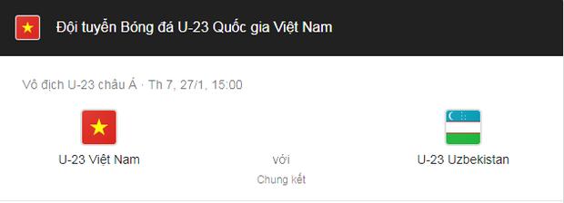 Trận chung kết U23 Châu Á 2018 sẽ diễn ra vào lúc 15h ngày 27/1 theo giờ Việt Nam.