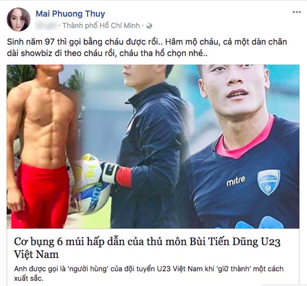 """Mai Phương Thuý hài hước gọi Bùi Tiến Dũng là """"cháu""""."""