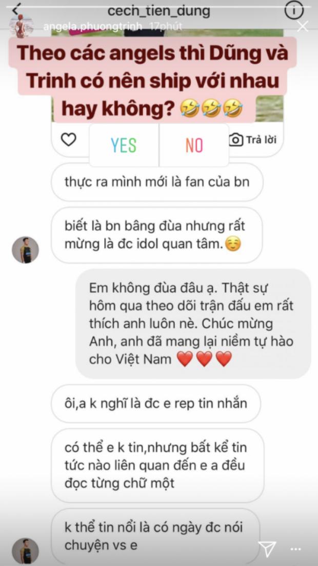 """Angela Phương Trinh khoe được thủ môn Bùi Tiến Dũng đáp lại lời """"tỏ tình""""."""