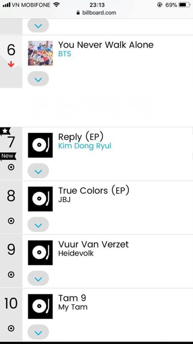 Album Mỹ Tâm lọt Top 10 World Albums của Billboard.