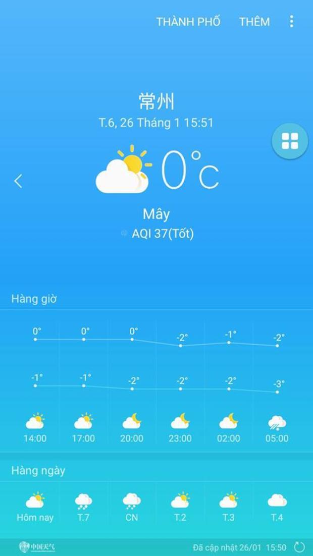 Nhiệt độ hiện tại ở Thường Châu.