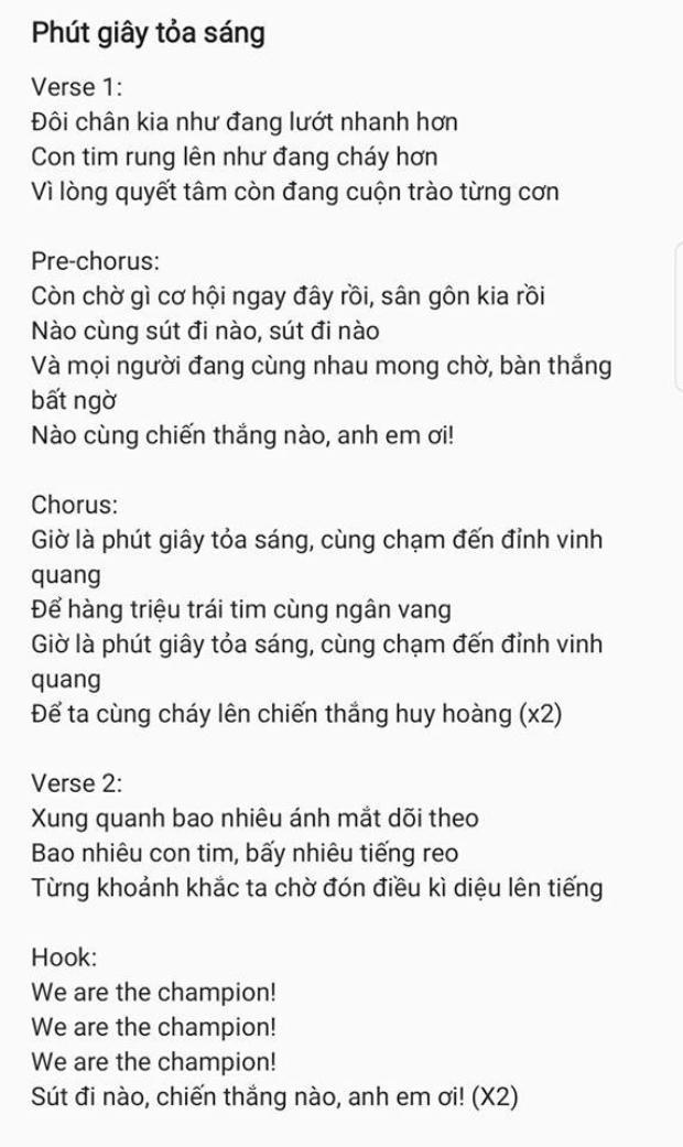Phần lời ca khúc được Khắc Hưng đăng tải trên trang cá nhân trước đó ít ngày.
