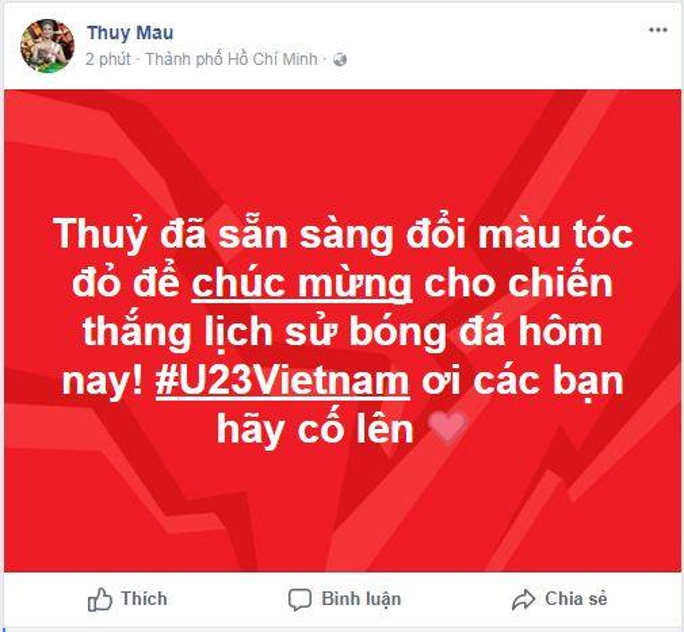 Mâu Thuỷ khẳng định sẽ nhuộm tóc đỏ nếu U23 Việt Nam vô địch.