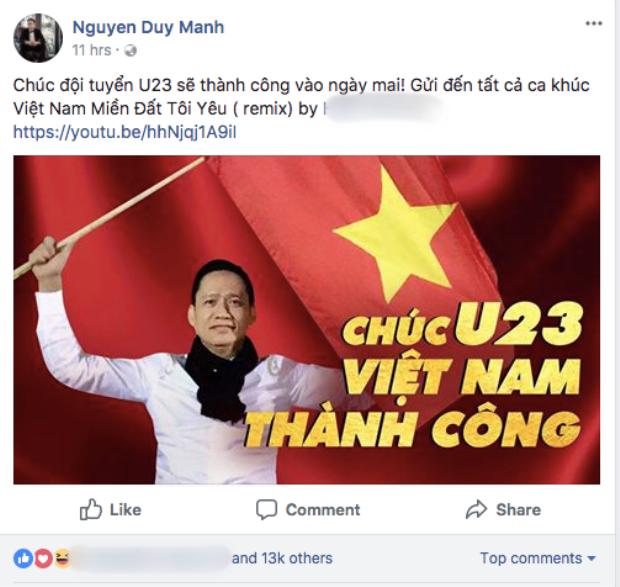 Duy Mạnh đăng tải ca khúc cổ vũ đội tuyển U23 Việt Nam.