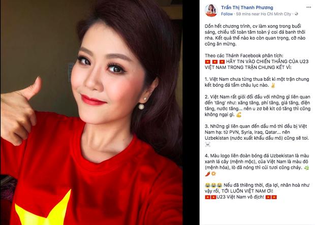 MC Thanh Phương đã hoàn thành hết công việc trong buổi sáng để buổi chiều trống lịch, cổ vũ cho U23.