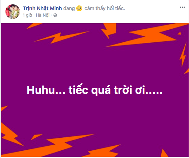 Quán quân The Voice Kids mùa 4 Trịnh Nhật Minh thể hiện sự tiếc nuối vì một chút thiếu may mắn của các cầu thủ.