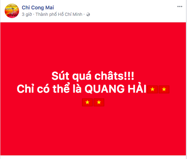 """""""Hotboy mắt hí"""" Mai Chí Công hâm mộ chân sút Quang Hải."""