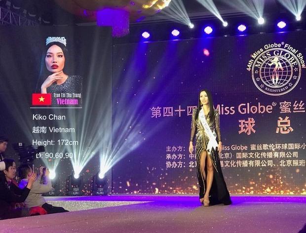 Sau gần một tuần tranh tài tại Miss Globe 2018, đại diện Việt Nam - Kiko Chan lọt vào Top 6 thí sinh xuất sắc nhất cuộc thi. Đồng thời, cô còn giành chiến thắng ở phần thi Trang phục dạ hội đẹp nhất.