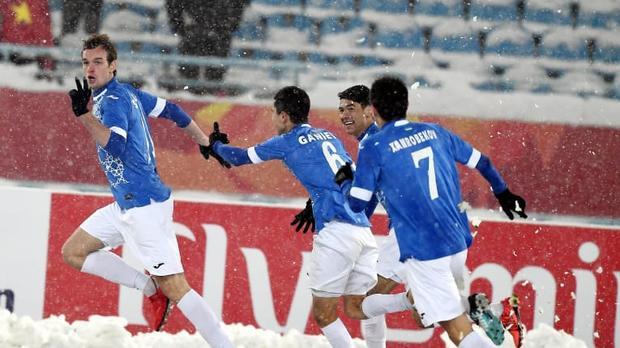 Bàn thắng của cầu thủ số 11 Andrey Sidorov (trái) đã định đoạt kết quả trận chung kết U23 châu Á.