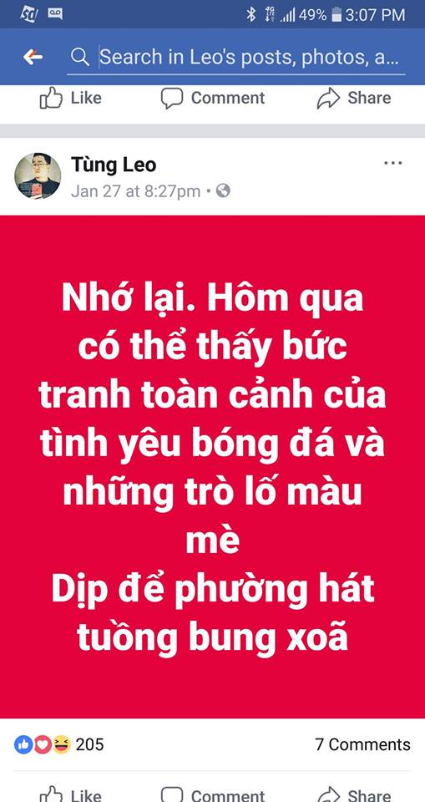 Dòng trạng thái gây tranh cãi của MC Tùng Leo.