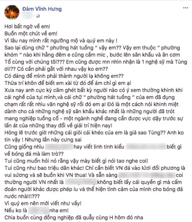 Đàm Vĩnh Hưng bức xúc trước phát ngôn của Tùng Leo.