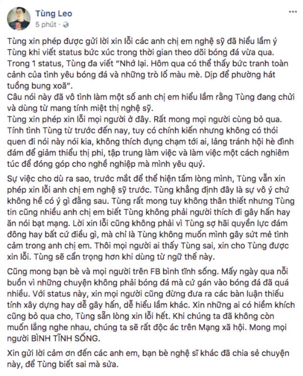 MC Tùng Leo lên tiếng trước phát ngôn gọi cổ động viên U23 Việt Nam là phường hát tuồng