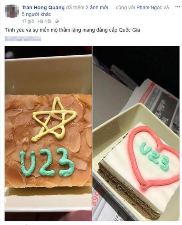 Sau trận đấu lịch sử tại vòng chung kết U23 Châu Á, hãng Vietnam Airlines đã thể hiện sự ủng hộ nhiệt tình các cầu thủ bằng thực đơn món ăn trang trí rất hấp dẫn (Ảnh facebook: Tran Hong Quang)