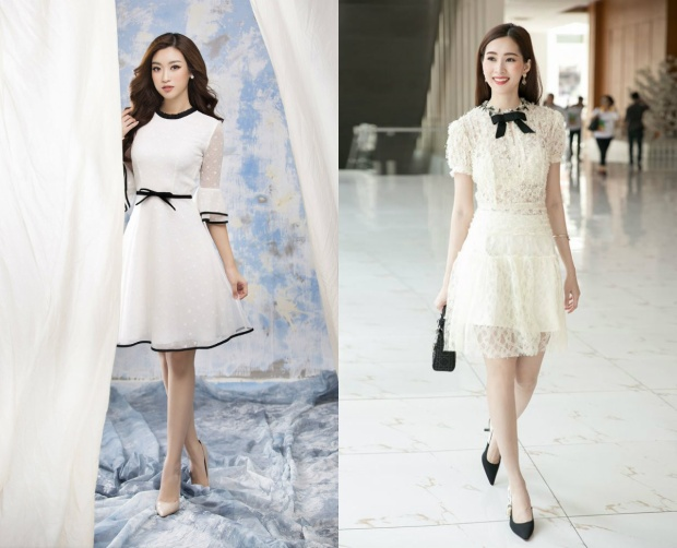 Những chiếc đầm ngắn nhẹ nhàng tôn lên vẻ đẹp dịu dàng rất được lòng hai nàng hậu.