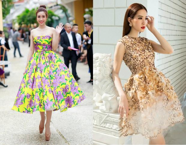 Những chiếc váy có kiểu dáng công chúa càng làm tôn lên vẻ đẹp thanh khiết. Rõ ràng trong những chiếc đầm họa tiết cả hai đều xuất sắc ở thần thái vì có vẻ chúng thật sự tôn lên được những thế mạnh vốn có ở hai nàng hậu này.