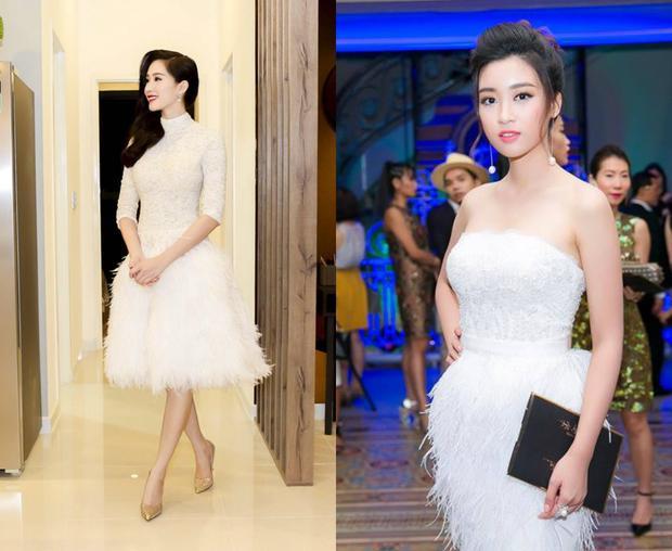 Tại các sự kiện Đỗ Mỹ Linh thường có phong cách chọn trang phục khá giống với người đẹp họ Đặng. Cả hai nàng hậu ít khi xuất hiện với những bộ cánh hở bạo mà thay vào đó là phong cách thanh lịch, sang trọng.