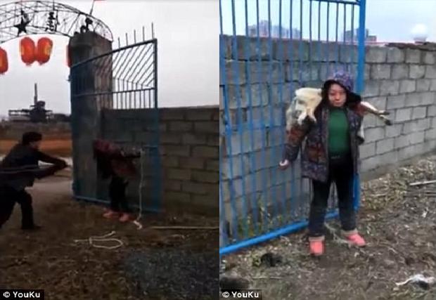 Hình phạt của người dân dành cho kẻ trộm chó. hình ảnh được cắt ra từ video.