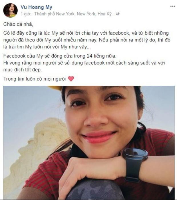 Thông báo đóng Facebook đột ngột của Á hậu Hoàng My.