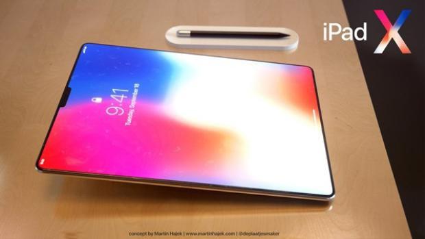 Không có nút Home đồng nghĩa với việc màn hình có kích thước lớn hơn. Trong hình dung của Martin Hajek, màn hình chiếc iPad Pro gần như chiếm trọn mặt trước.