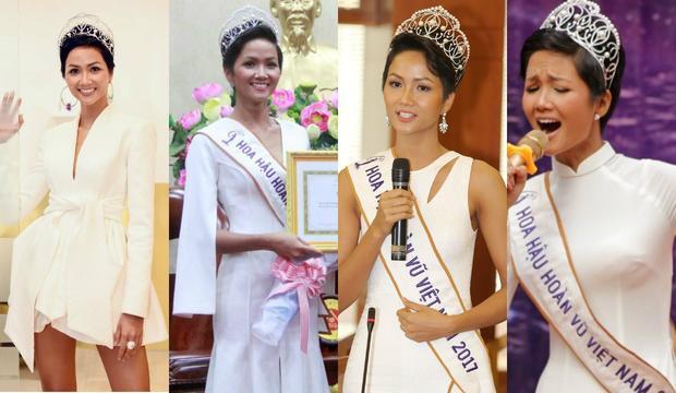 Hoa hậu H'Hen Niê luôn chọn cho mình những màu sắc nổi bật, tương phản để tôn làn da bánh mật của mình. Song việc lạm dụng quá nhiều cô bị đánh giá một màu.