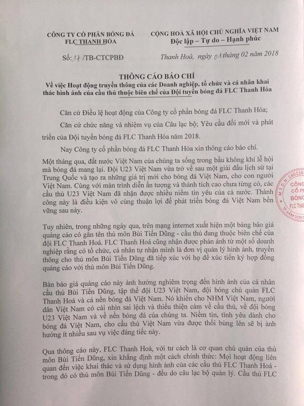 CLB Thanh Hóa ra thông cáo báo chí về Bùi Tiến Dũng.
