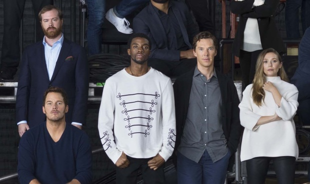 Chris Pratt (Star-Lord, Guardians of the Galaxy), Chadwick Boseman (Black Panther, Black Panther), Benedict Cumberbatch (Doctor Strange, Doctor Strange), Elizabeth Olsen (Scarlet Witch, The Avengers).