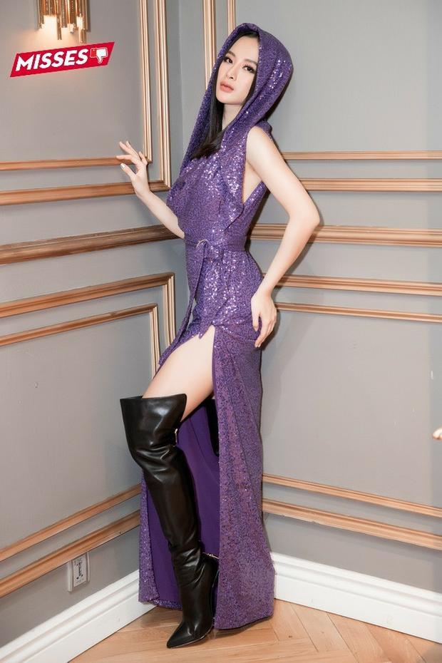 """Mốt váy trùm đầu đang tích cực được các sao Việt lăng-xê. Tuy nhiên, đây là kiểu trang phục khá khó mặc, không phải ai diện cũng đẹp. Angela Phương Trinh là một trong những mỹ nhân đã bị loại trang phục này """"hại"""" trong tuần qua."""