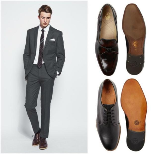 """Chững chạc, trưởng thành và vô cùng lịch thiệp là những gì mà bộ đồ này mang lại. Một đôi giày oxford """"xịn"""", cà vạt và kẹp cà vạt tinh tế sẽ giúp bạn trông thật nam tính, quyến rũ."""