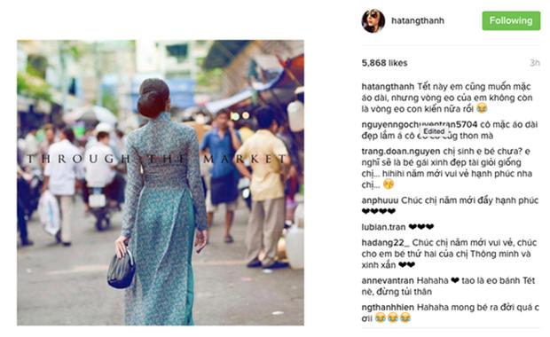 Đầu năm 2017, cô cập nhật trạng thái trên instagram gây chú ý mạng xã hội. Nữ diễn viên Mỹ nhân kế cho biết cô muốn mặc áo dài dịp Tết nhưng vòng eo không còn thon gọn như xưavì sắp tớigia đình người đẹp chào đón thêm thành viên mới.