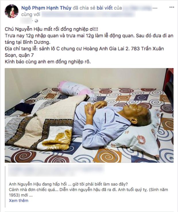 NSƯT Hạnh Thuý thông báo tin nghệ sĩ Nguyễn Hậu mất với các đồng nghiệp.