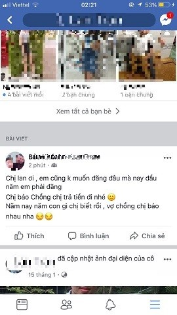 Bài đăng đòi nợ của Bảo Khanh bên trang cá nhân của vợ người vay tiền.