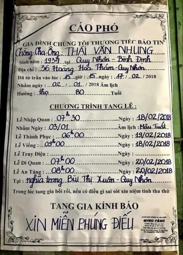 Cáo phó của bố nam ca sĩ Quang Dũng.
