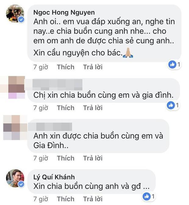 Ca sĩ Hồng Ngọc chia sẻ nỗi đau với Quang Dũng. Nhà thiết kế Lý Quí Khánh cũng gửi lời chia buồn đến giọng ca Anh còn nợ emkhi mất đi người thân.