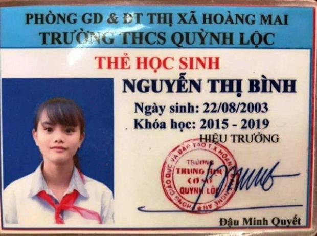 Ảnh thẻ học sinh của em Nguyễn Thị Bình.