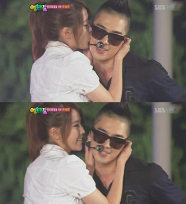 """IU sẽ phải """"khắc cốt ghi tâm"""" khoảnh khắc được hôn Taeyang (BigBang). Cô nàng từ khi mới debut đã thừa nhận mình là 1 V.I.P chính hiệu, đặc biệt gửi """"tình đơn phương"""" cho anh chàng Taeyang."""