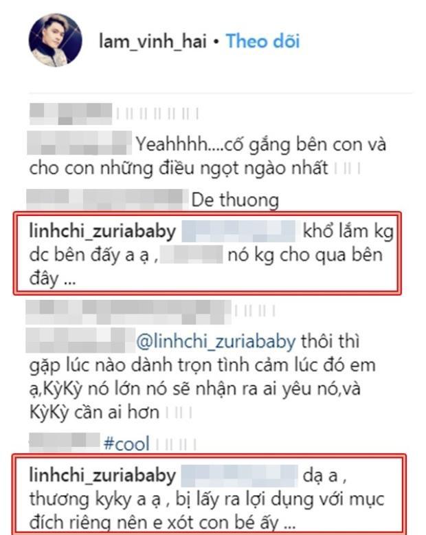 Linh Chi chủ động trả lời bình luận dưới hình ảnh của Lâm Vinh Hải để tiết lộ bé Kỳ Kỳ bị lợi dụng.