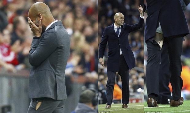 Hai HLV bóng đá nổi tiếng Zidane và Pep Guardiola với sự cố rách quần khi đang chỉ đạo trên sân.