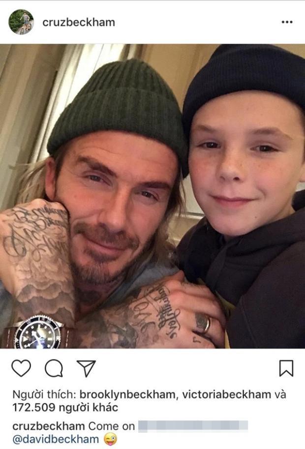 """Cruz và khoảnh khắc ấm áp bên bố với số like khá """"khủng"""" 172.509 ở độ tuổi 13. Cậu bé được kỳ vọng sẽ trở thành """"Justin Bieber thứ hai"""" này đã chạm mốc 1.1 triệu lượt theo dõi trên Instagram."""
