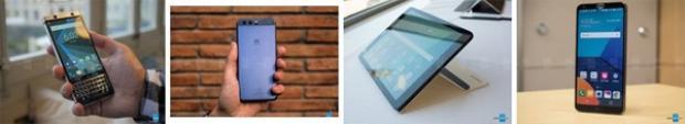 Từ trái qua phải: BlackBerry KeyOne, Huawei P10, Samsung Galaxy Tab S3, và LG G6.